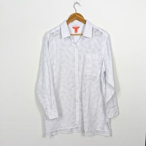 Joe Fresh Button Up Burnout Shirt White Plus 1X